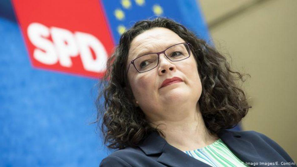 Dimite la líder del SPD alemán tras los malos resultados en las elecciones europeas