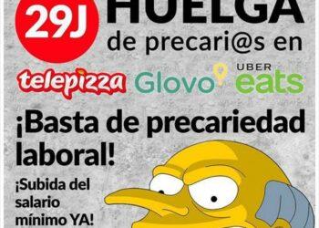 «En apoyo a las plantillas de Telepizza, Glovo y Uber Eats»
