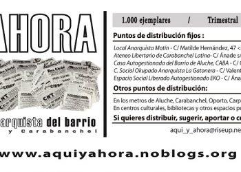 """En la calle, el Nº 6 del periódico anarquista """"Aquí y ahora"""", que se distribuye en Aluche y Carabanchel"""