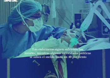 """SATSE denuncia: """"Los políticos se suben el sueldo hasta un 40% y las enfermeras siguen perdiendo poder adquisitivo"""""""