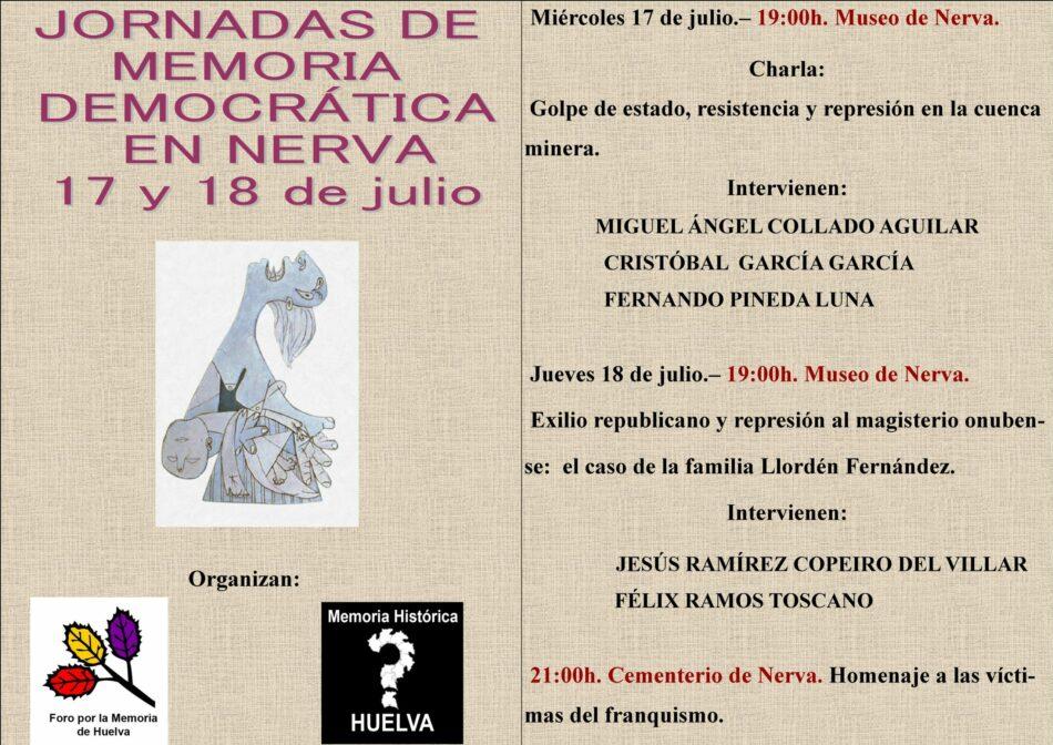 Jornadas Memoria Democrática en Nerva, 17 y 18 de julio