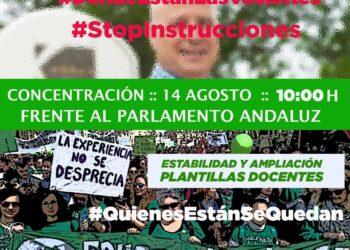 Marea Verde llama a la concentración de interinos frente al Parlamento andaluz el 14 de agosto y exige la comparecencia del consejero Imbroda