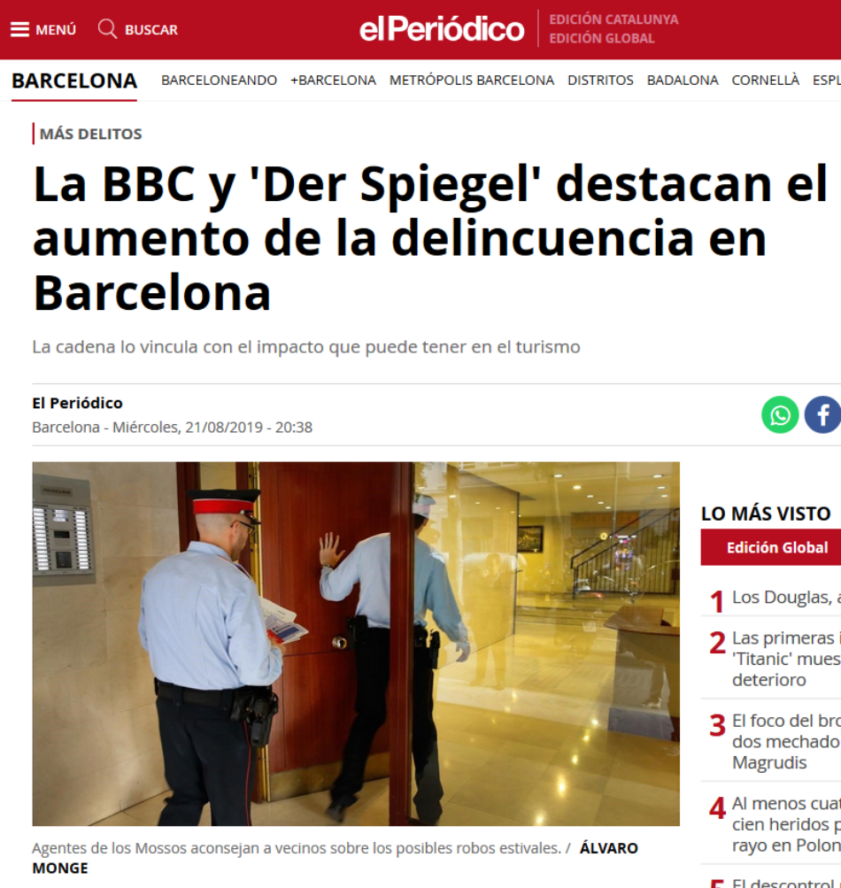 Col·legi de Criminòlegs de Catalunya: «no hay ninguna crisis de seguridad en Barcelona»