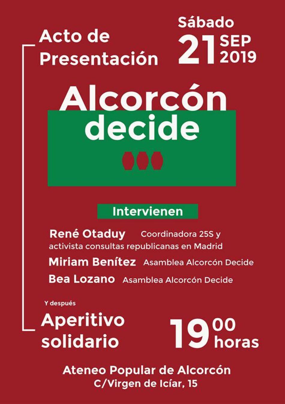 Alcorcón Decide presenta su consulta republicana esta tarde en el Ateneo Popular