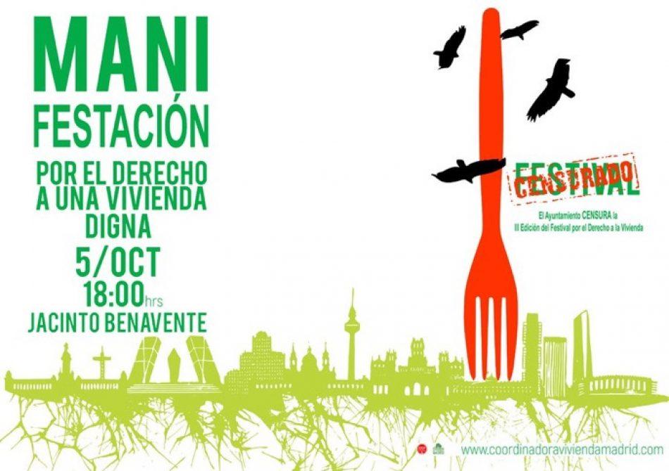 El Ayuntamiento de Madrid censura el III Festival Por el Derecho a la Vivienda