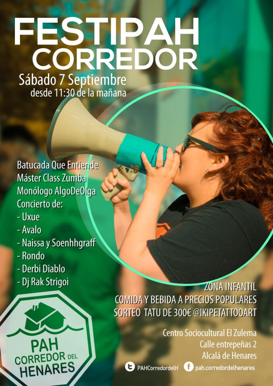 La PAH Corredor de Henares organiza el próximo 7 de septiembre un festival solidario en el Centro Sociocultural Zulema de Alcalá