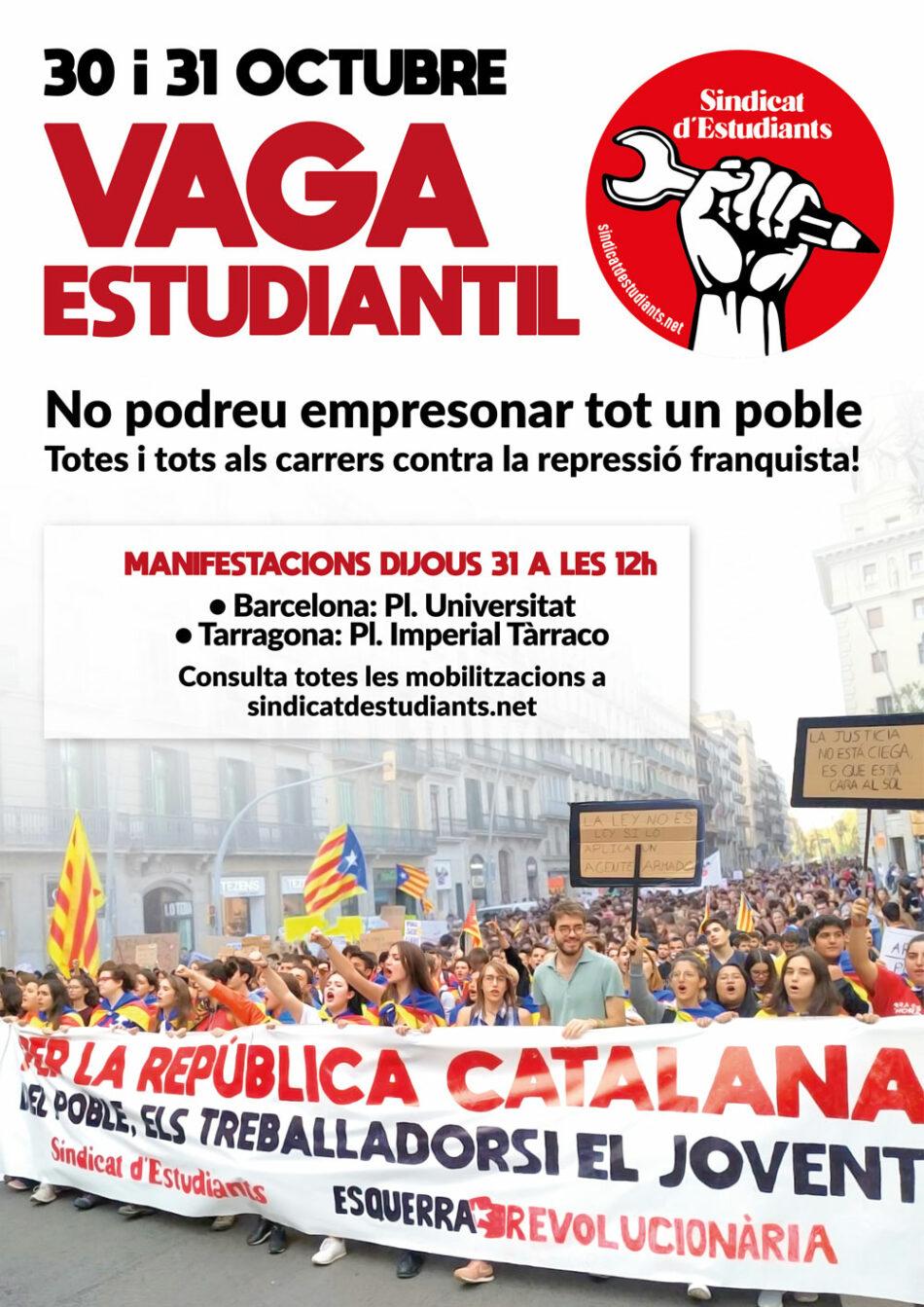 Catalunya: ¡30 y 31 de octubre huelga general estudiantil!