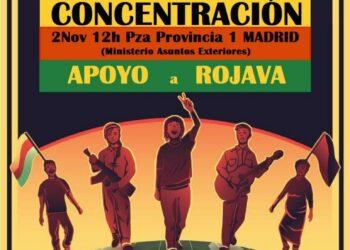 Concentración de apoyo a Rojava, el 2 de noviembre frente al Ministerio de Asuntos Exteriores en Madrid