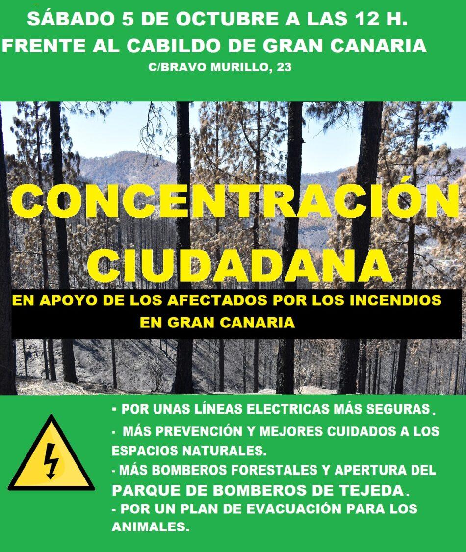 La plataforma «Más Nunca» llama a la movilización en apoyo a los afectados por los incendios en Canarias