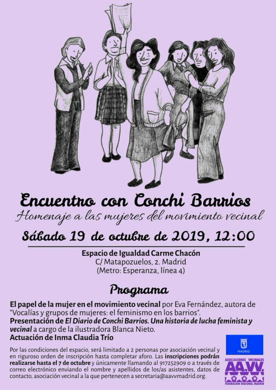 Conchi Barrios regresa para rendir homenaje a las mujeres del movimiento vecinal
