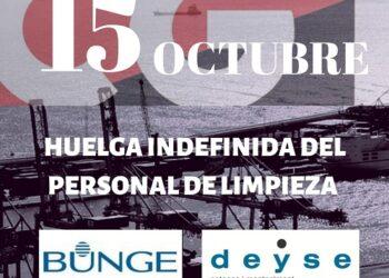 El personal de limpieza de Bunge (Barcelona), en huelga indefinida desde el próximo 15 de octubre