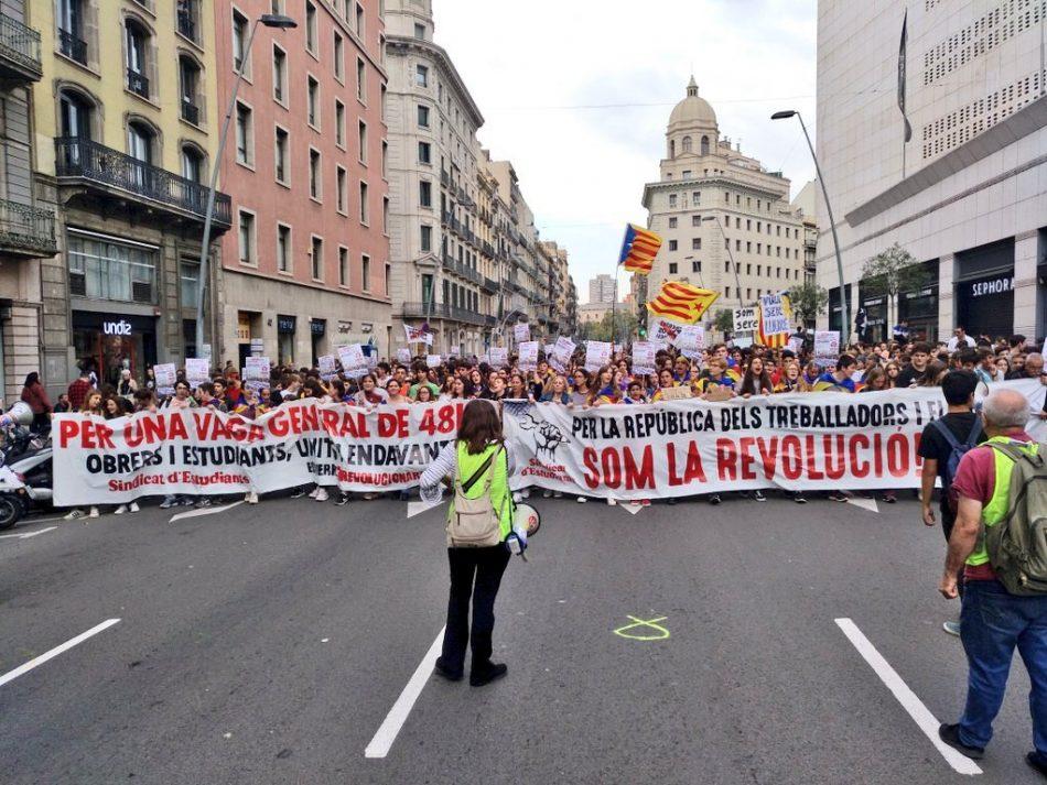 Catalunya: Miles de jóvenes en las calles convocados por el Sindicat d'Estudiants. ¡Contra la represión, por la república de los trabajadores y la juventud!