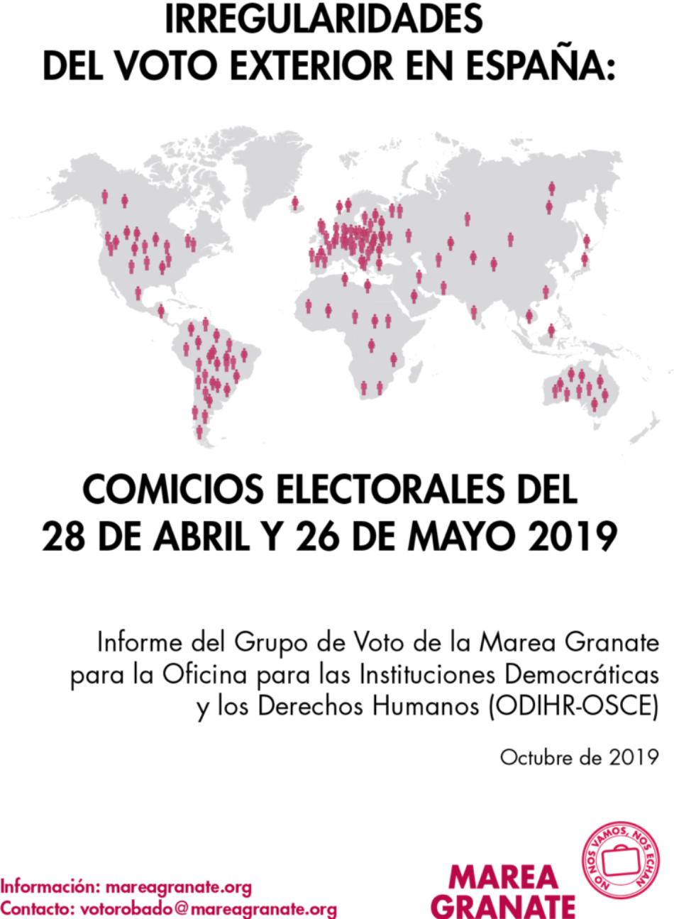 Marea Granate presenta a la OSCE el informe de denuncia de las irregularidades de los procesos electorales del 28A y el 26M