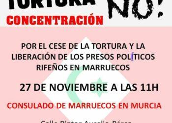 Concentración el 27N: «por el cese de la tortura y la liberación de los presos políticos rifeños en Marruecos»