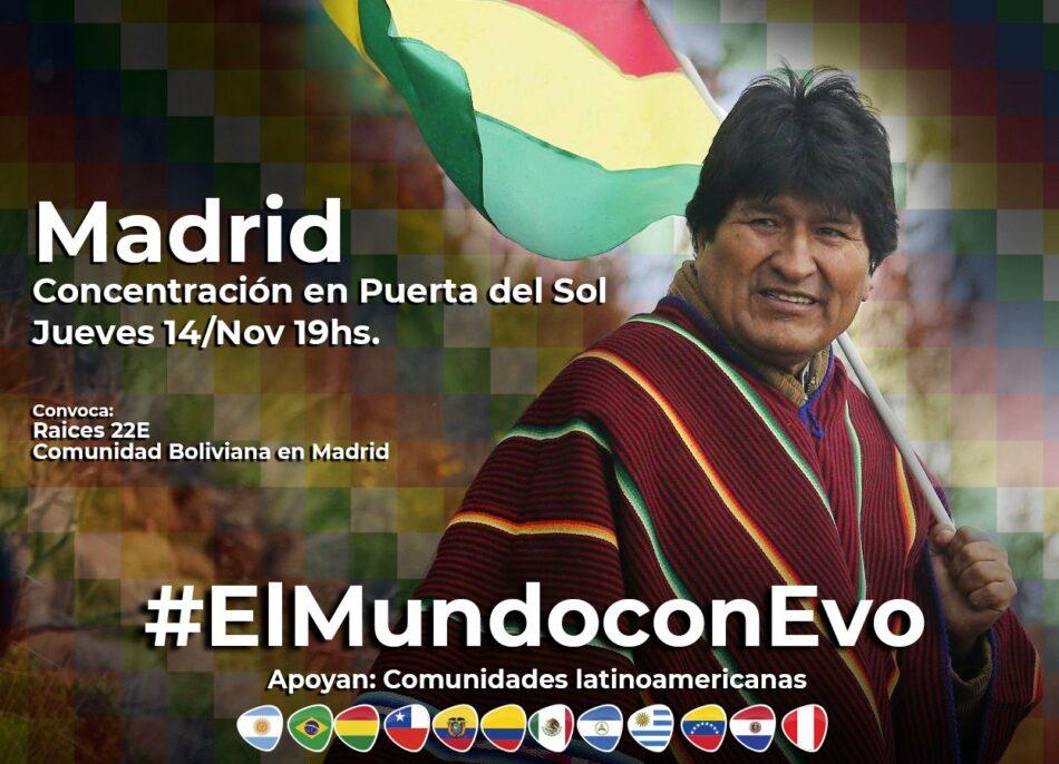 #ElMundoconEvo: concentración en Madrid contra el golpe de Estado en Bolivia