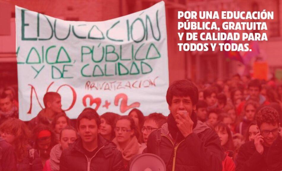 IU lleva a ayuntamientos y cámaras autonómicas una moción en 'Defensa de la Educación Pública como garante del derecho universal a la educación en condiciones de igualdad'