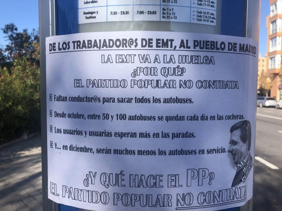 La Empresa Municipal de Transportes (EMT) de Madrid va a la huega