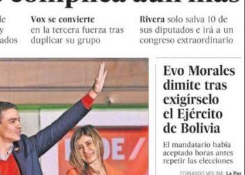 Según El País, «Evo Morales dimite tras exigírselo el Ejército de Bolivia», pero no es un golpe de estado militar