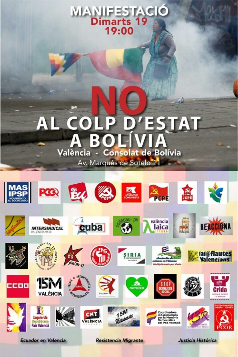 Manifestación en Valencia: «No al golpe de Estado en Bolivia»