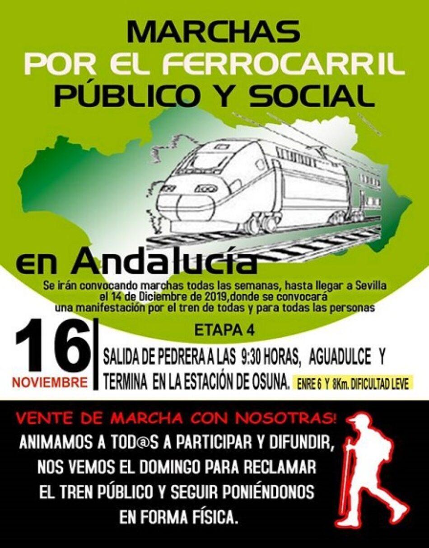 El 16 de noviembre, cuarta etapa de las marchas en defensa del ferrocarril público y social andaluz