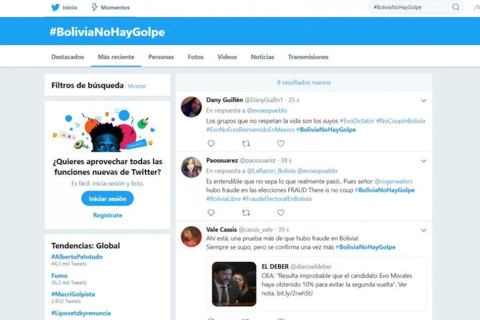 Se crearon más de 4000 cuentas en Twitter sólo para legitimar la destitución de Morales. Las redes sociales y el golpe contra Evo