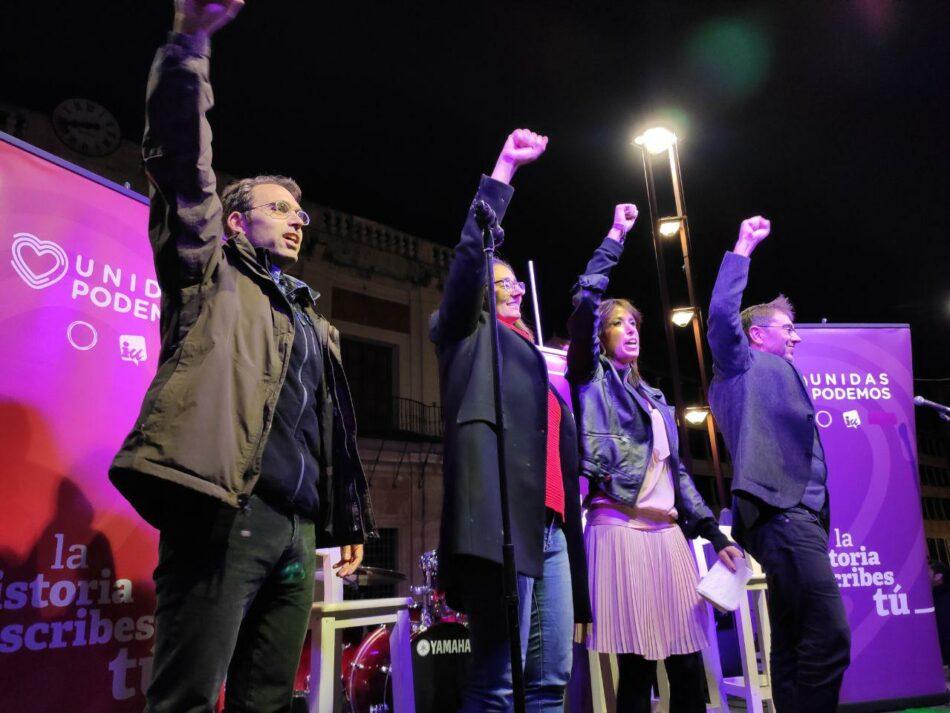 Valero pide el apoyo masivo a Unidas Podemos para evitar que la nueva crisis la paguen los trabajadores
