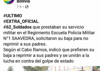 Bolivia. 62 soldados solicitaron la baja «para no reprimir a sus padres»