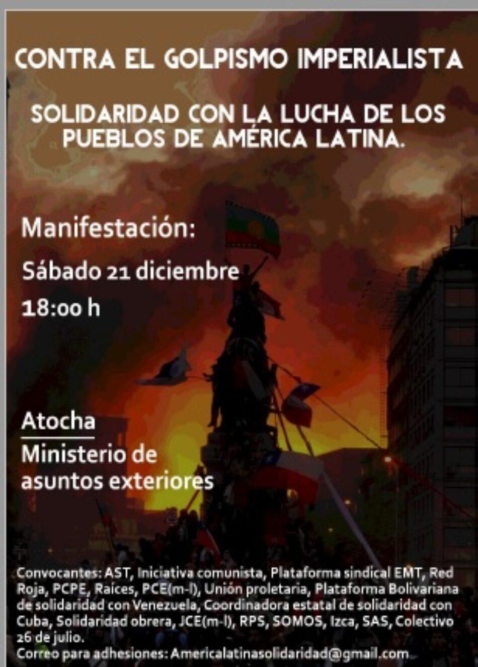 Manifestación 21D. Contra el golpismo en América Latina  Solidaridad con la lucha de los pueblos