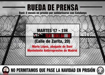 Dani, detenido en Madrid durante las protestas contra la sentencia del Procés, podría pasar estas navidades en prisión