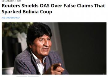 Joe Emersberger: «pregunté a periodistas Reuters por qué ignoraron la crítica del CEPR al informe de la OEA en Bolivia. Ninguno respondió»