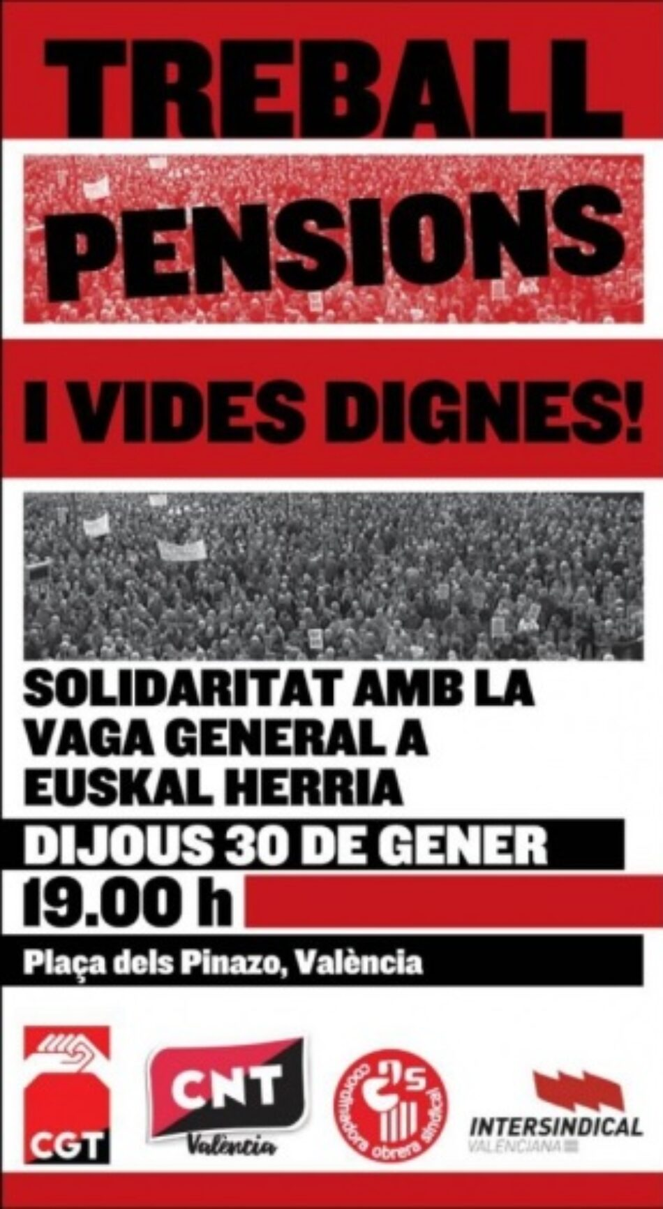 Solidaritat amb la Vaga General del 30 de gener d'EuskalHerria