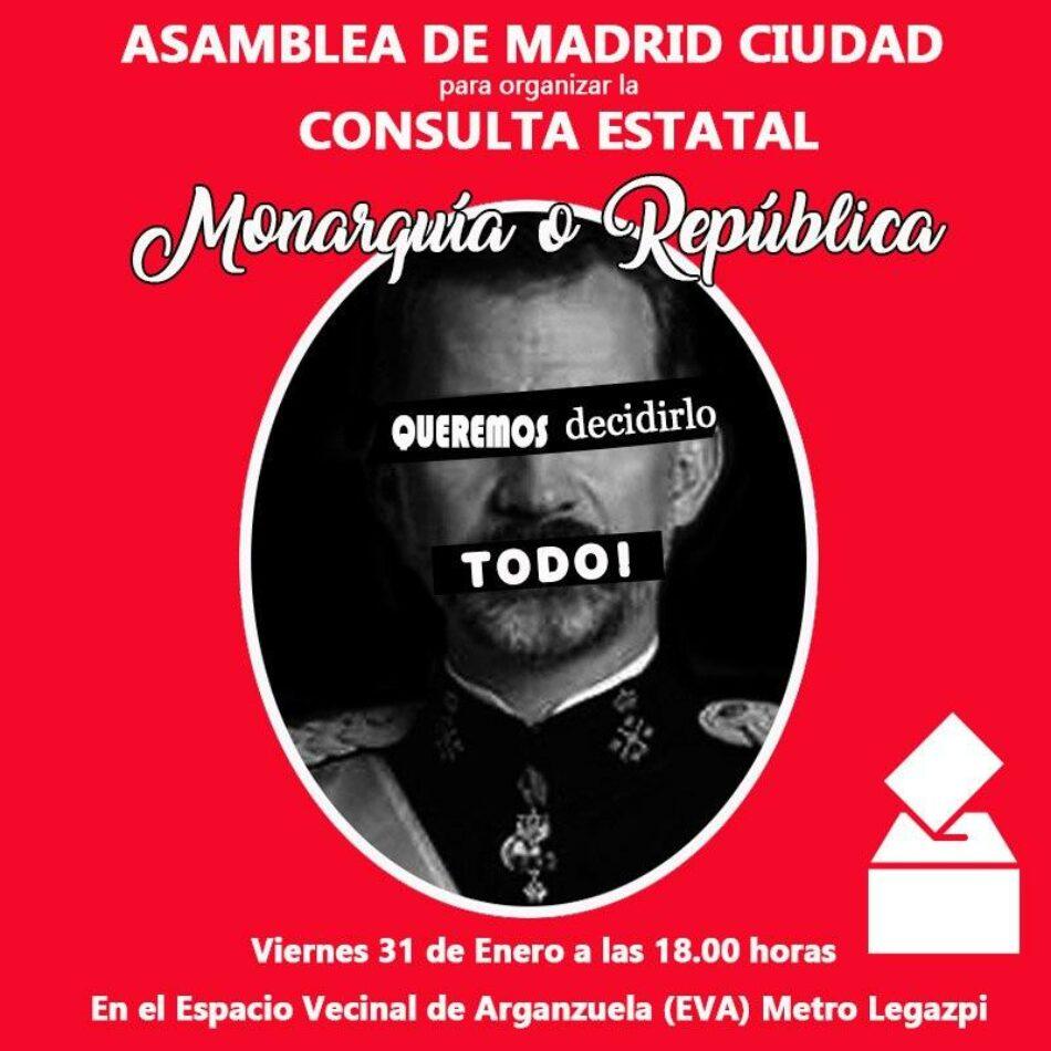 Asamblea en Madrid para la Consulta Estatal «Monarquía o República» del 9 de mayo