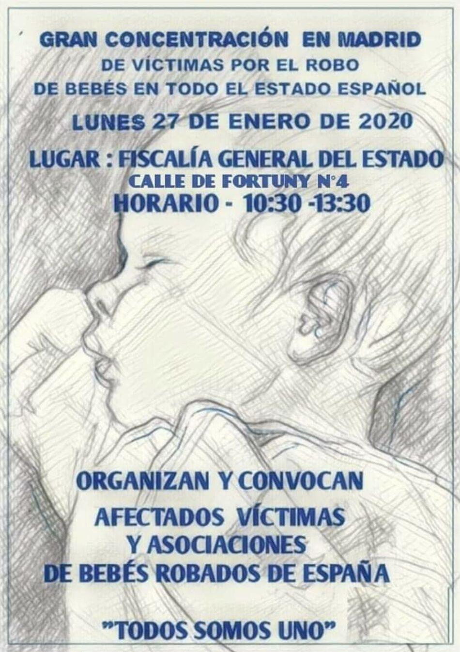 Asociaciones de víctimas y afectados de bebés robados convocan concentración frente a la Fiscalía General del Estado el 27 de enero
