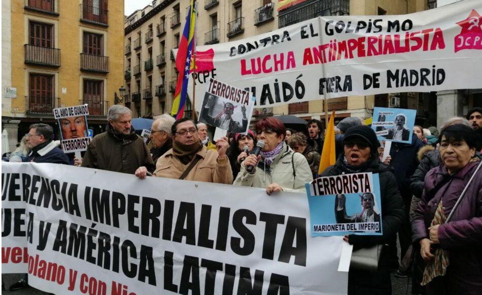Organizaciones y partidos políticos reciben con protestas a Guaidó en su visita a Madrid