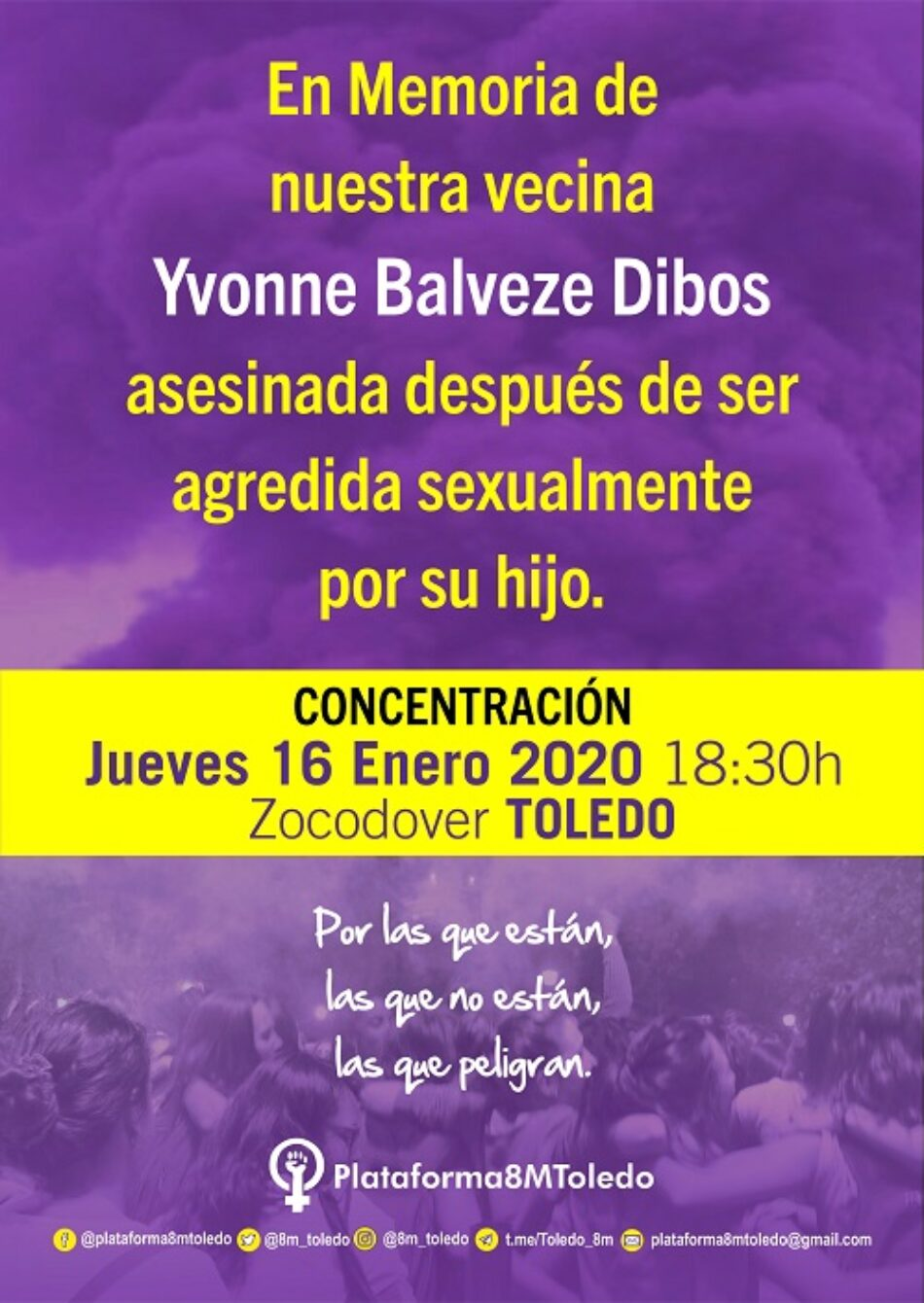 «En Memoria de nuestra vecina Yvonne Baldeze Dibos»: concentración, jueves 16 de enero