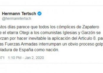 """IU y Podemos se querellan contra Hermann Tertsch por """"provocación para la rebelión armada"""" tras sus arengas al Ejército en Twitter"""
