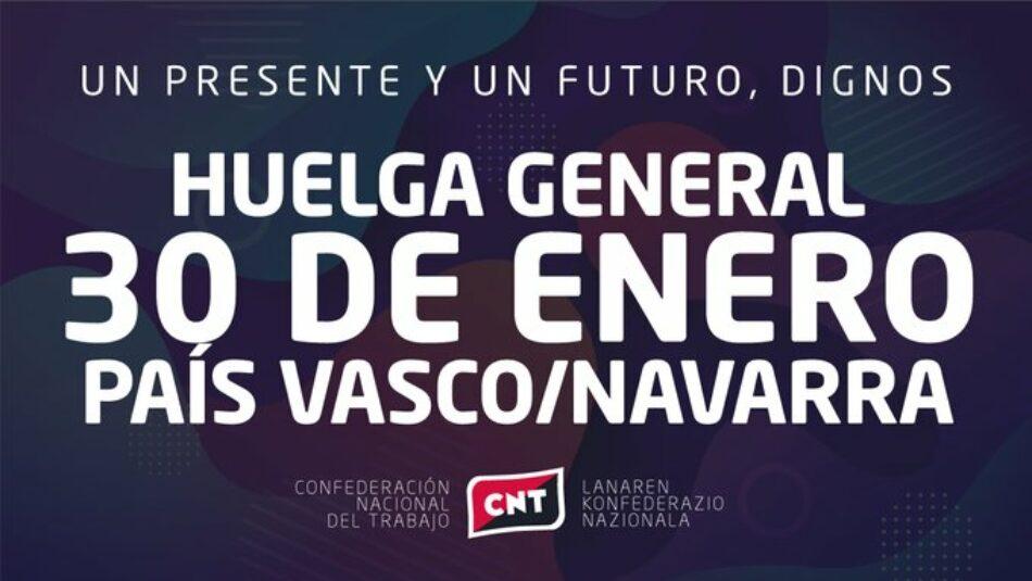 El sindicato CNT, con la huelga general por las pensiones en Euskadi y Nafarroa