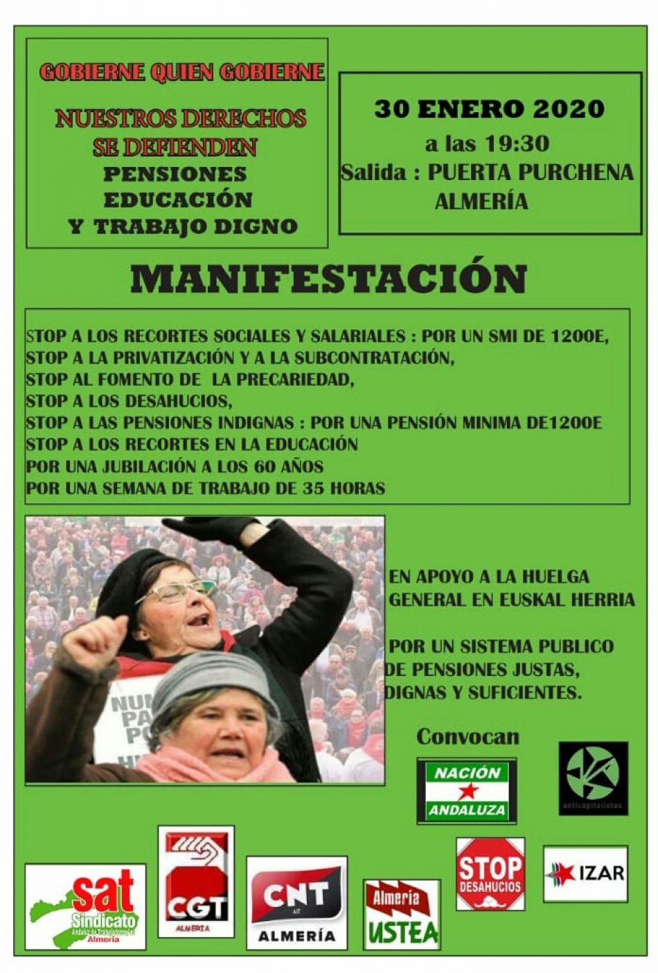 Manifestación en defensa de los derechos sociales – Jueves 30 de enero en Almería