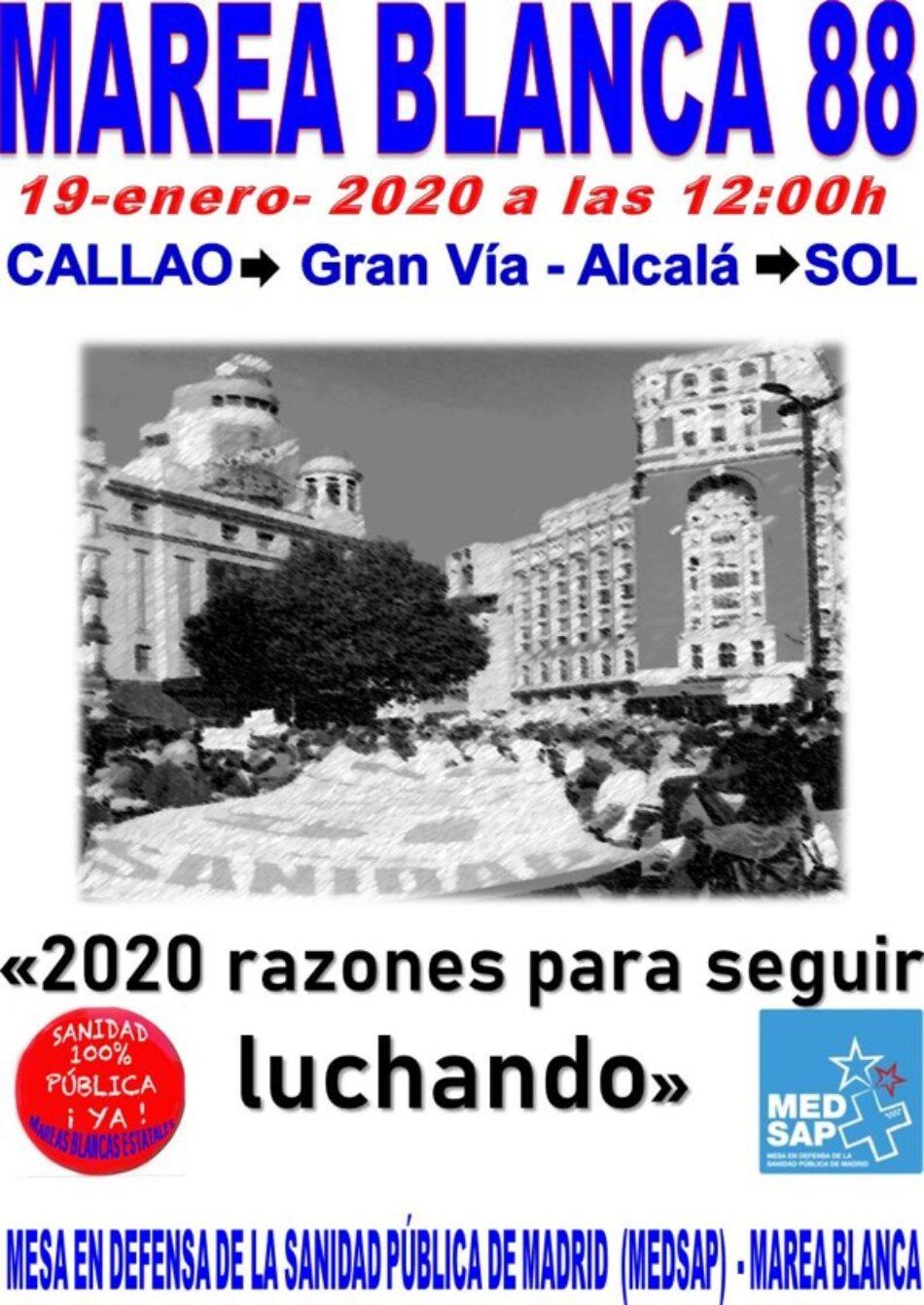 """88ª Marea Blanca: """"2020 razones para seguir luchando"""", el 19 de enero desde Callao"""