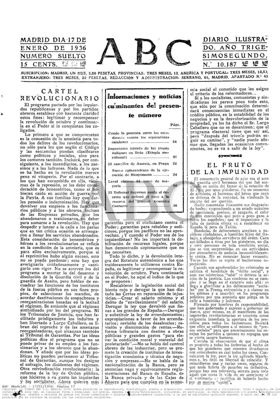 Comentarios de la «caverna» mediática, ante las elecciones del 16 de febrero de 1936