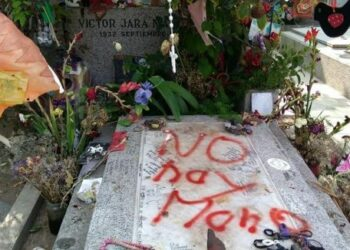 Grupo de extrema derecha vandaliza tumba de Víctor Jara en el Cementerio General de Santiago