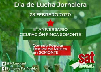 El SAT celebrará el 28 de febrero luchando por la Reforma Agraria en Somonte