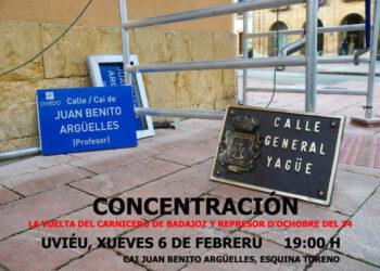 Concentración contra la reposición del callejero fascista en Oviedo