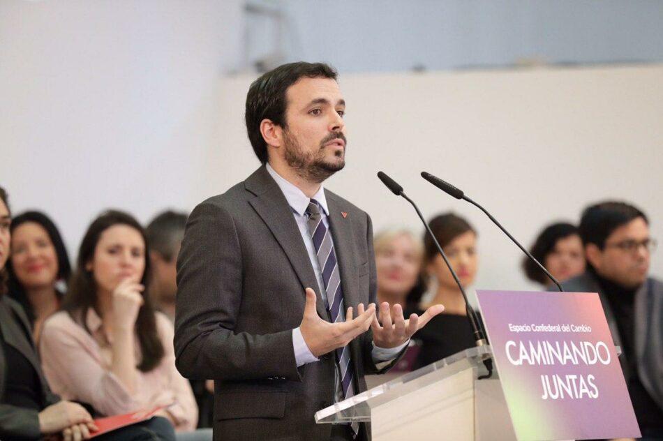 """Garzón anima a los integrantes de Unidas Podemos a reforzarse para ser """"la mejor protección de la clase trabajadora y las clases populares"""""""