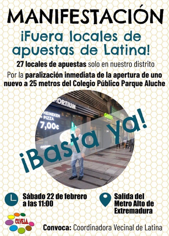 Las asociaciones vecinales de Latina se unen para protestar contra la proliferación de locales de apuestas