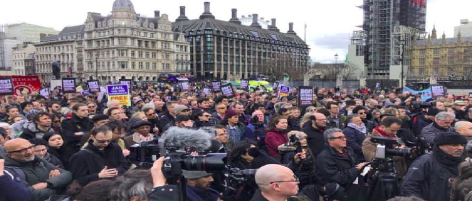 Marcha masiva en Londres contra extradición de Julian Assange a Estados Unidos