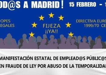 Manifestación estatal de emplead@s públic@s en fraude de ley por abuso de la temporalidad: 15 de febrero