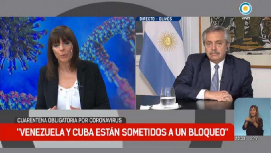 Presidente argentino Alberto Fernández reclama levantar el bloqueo contra Cuba y Venezuela