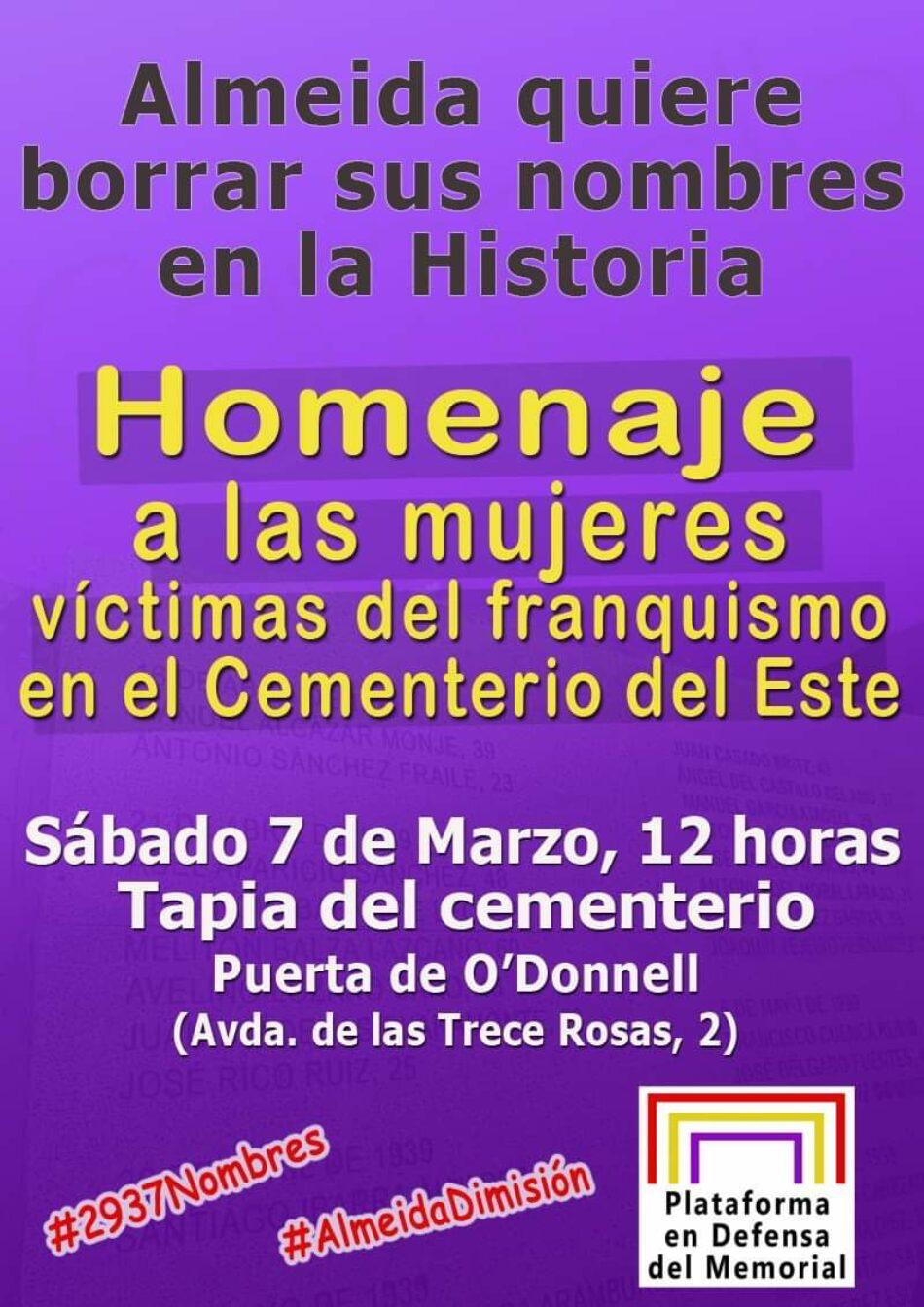 """Acto Homenaje a las mujeres víctimas del Franquismo en el cementerio de Este: """"Martínez Almeida quiere borrar sus nombres en la Historia"""""""