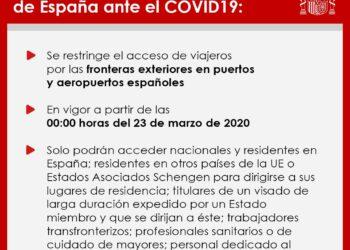 El Gobierno restringe el acceso de viajeros por las fronteras exteriores de España